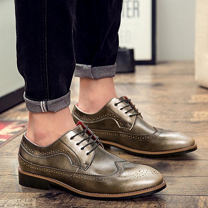 Fashion Retro Brogues Formal Shoes   Carving -Golden Flower Business Wedding Oxfords Shoes -Golden Carving à prix pas cher  | Black Friday 2018 | Jumia Maroc 420eb3