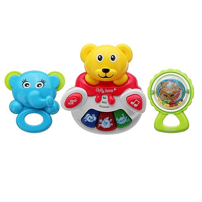 OEM Bébé hochet jouet musique ours hochet 3 pièces un ensemble avec musique légère et animal à prix pas cher
