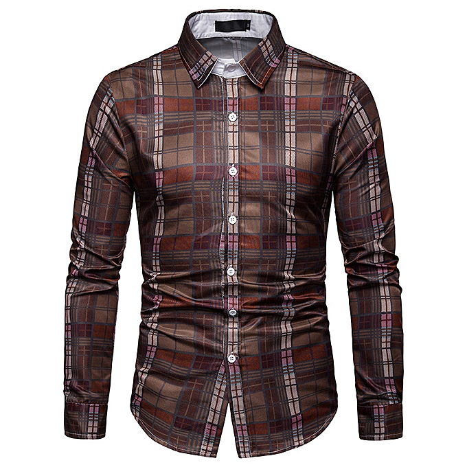 Fashion hommes Spring new business spring and autumn plaid casual long-sleeved shirt C467-multi à prix pas cher