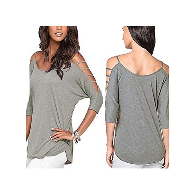 Fashion Fangfang Wohommes Casual Loose Hollowed Out Shoulder Three Quarter Sleeve Shirts à prix pas cher