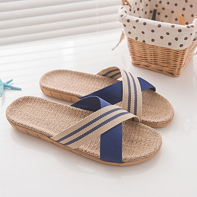 Fashion jiahsyc store Men's Fashion Anti-slip Linen Home Indoor Open Toe Flat chaussures Beach Slippers à prix pas cher