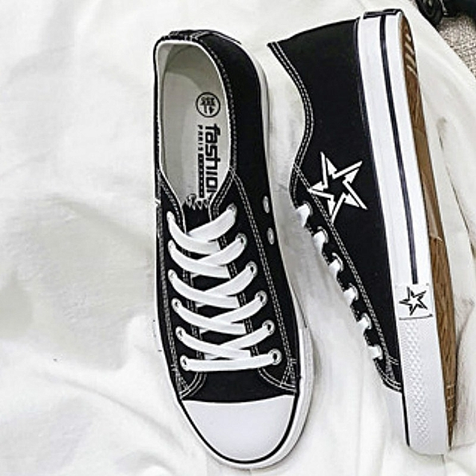 Other New Stylish Spring New Korean Version of Men's Canvas chaussures Ins Super Hot Star Five Pointed Star-noir à prix pas cher