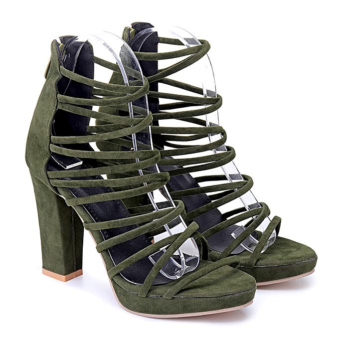 Fashion femmes High Block Heels Ankle Strappy Ladies Peep Toe Sandals Party Pumps chaussures à prix pas cher