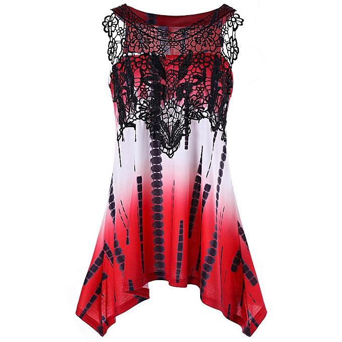 Fashion (Xiuxingzi) femmes Casual Lace Printing Sleeveless Vest Shirt Tank Blouse Tunic Tops RD L à prix pas cher