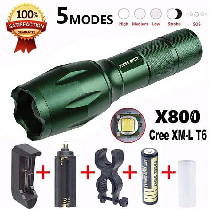 GENERAL quanxinhshang X800 Flashlight LED Zoomable Military Torch G700 with Battery Charger à prix pas cher