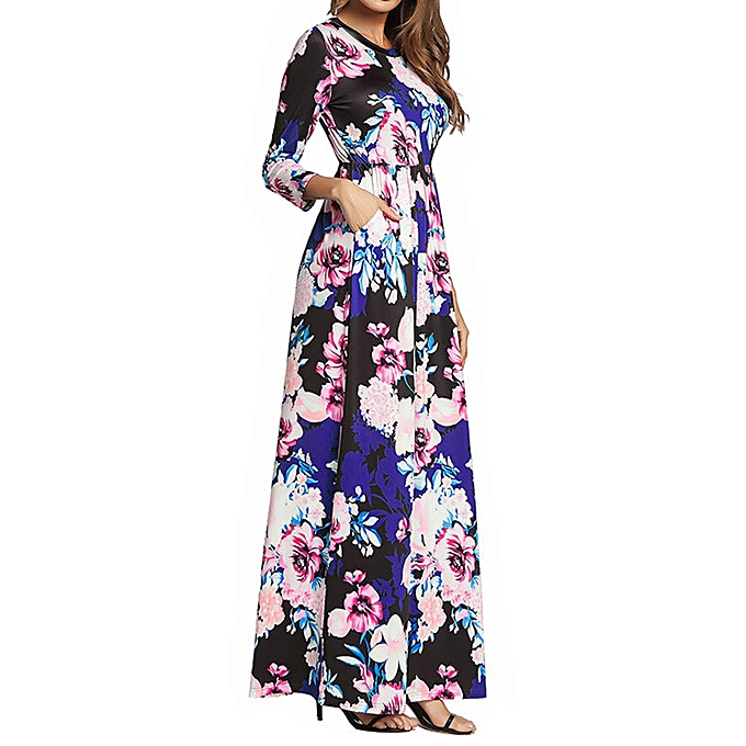 Fashion whiskyky store femmes Long Sleeve Crew Neck Summer Maxi Dress With Pockets Plus Taille BK L à prix pas cher