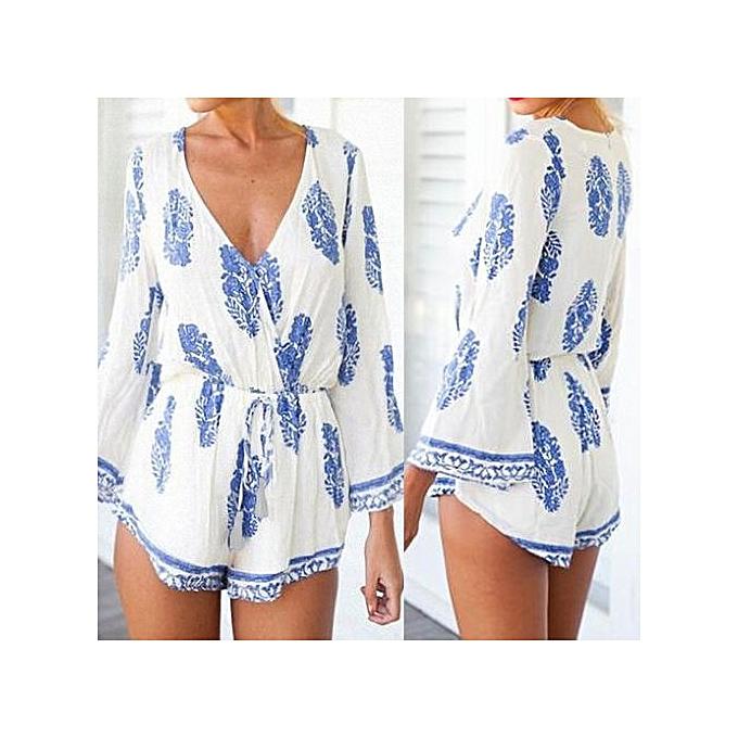mode ZANZEA S-5XL femmes V Neck Floral Printed Jumpsuits Rompers Ladies 3 4 Sleeve plage Décontracté Loose Long Playsuit courtes (bleu) à prix pas cher