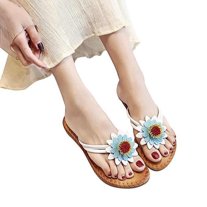 mode Blicool Shop femmes Sandals femmes mode Solid Couleur FFaibleer Flat Heel Sandals Slipper plage chaussures blanc-blanc à prix pas cher