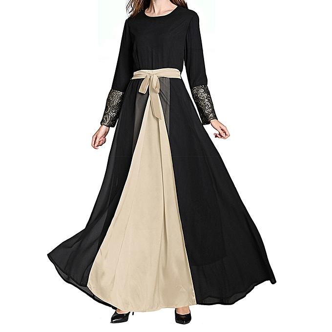 Fashion (Xiuxingzi) Muslim Middle East Maxi Dress Trumpet Sleeve Abaya Long Robe Gowns Tunic Belt à prix pas cher