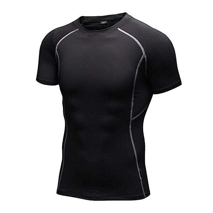 Other Hommes& 039;s manche courte Elastic Tight Training T Shirt  -noir à prix pas cher