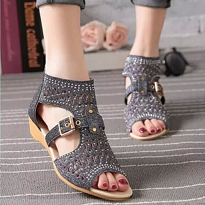 OEM Refined Wohommes chaussures summer slope with rhinestones hollow sandals femmes à prix pas cher