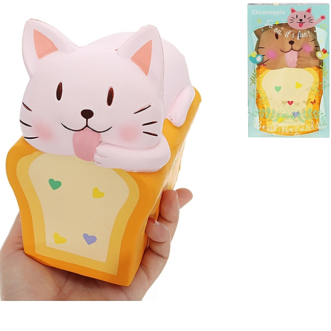 UNIVERSAL Chummypie Toast Cat Squishy 14cm SFaible Rising With Packaging Collection Gift Soft Toy-Dark Orange à prix pas cher