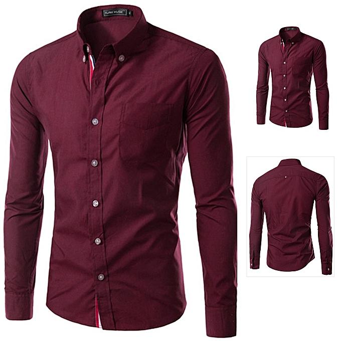 Other Stylish Men's Long Sleeve Ribbon Shirt Pure Couleur Workwear Business Suit-Wine rouge à prix pas cher