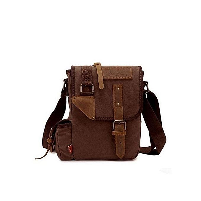 Augur AUGUR Men's Canvas Casual Bag Single Shoulder Messenger Bags Korean Style Business Pouch Bags(Coffee) à prix pas cher