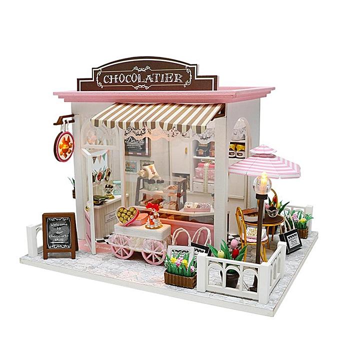 Autre Réunion amour bricolage modèle en bois miniature maison de poupée meubles blocs de construction cadeau jouets à prix pas cher