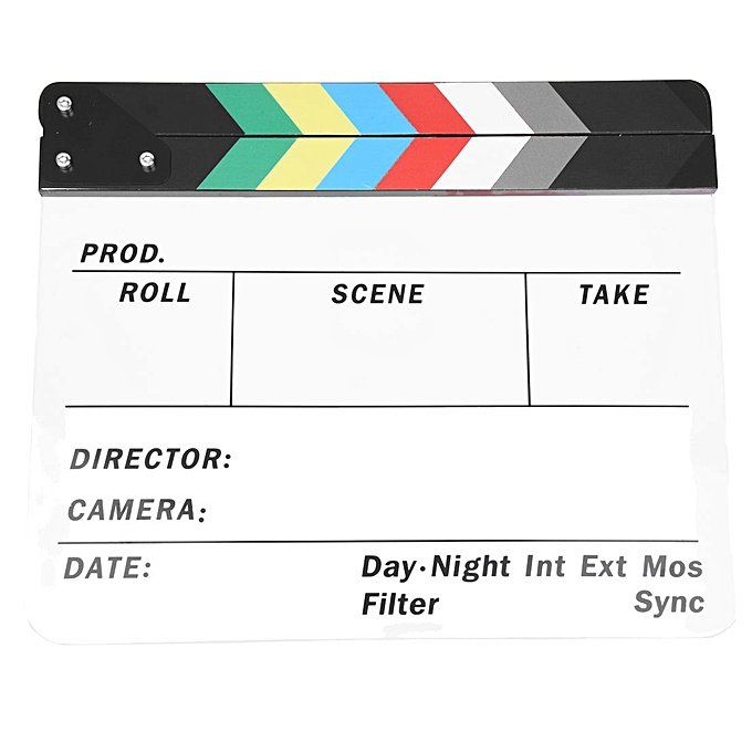 GENERAL Generic Acrylic Couleurful Clapperboard TV Film Movie Slate Cut Role Play Prop Hollywood à prix pas cher