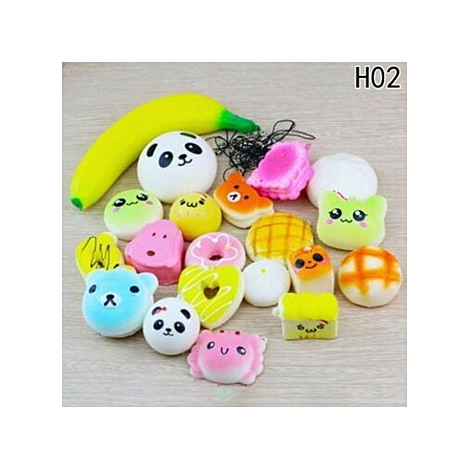 UNIVERSAL Tanson ALL KINDS Set Of 1\ 5\ 10\ 20\ 30PCS Cute Fruit Food Emoji Animal Squishy  Charm Kawaii Squishies Kids Soft Toy GIft à prix pas cher