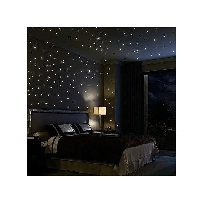 100 pièces étoiles lumineuses pour décoration chambres enfants- Vert