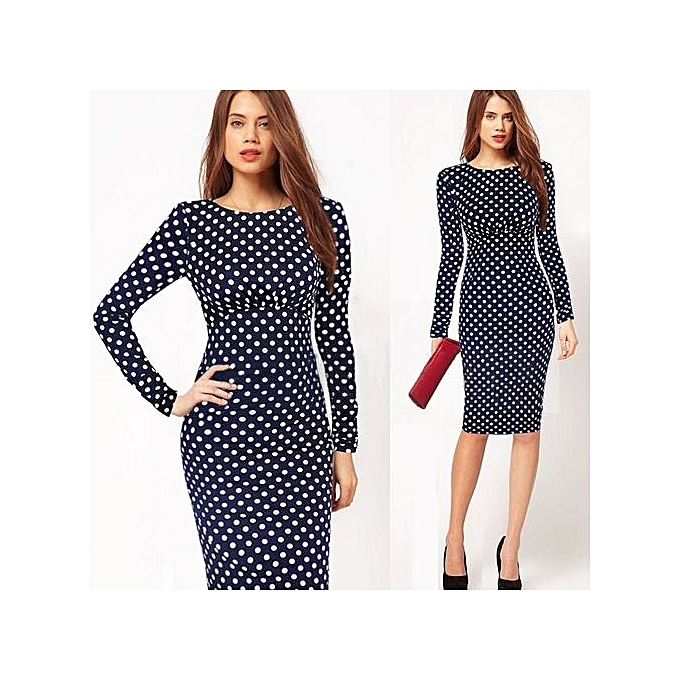 Fashion Large Taille femmes Casual Elegant Work Business Office Belted Couleurblock Contrasting Fitted Bodycon Pencil Dress-bleu à prix pas cher