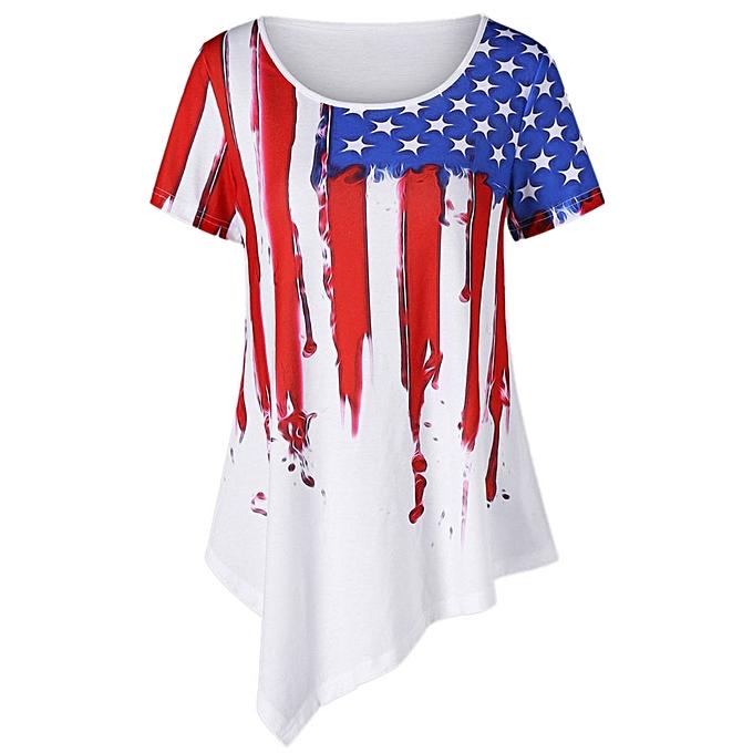 Generic Generic femmes American Flag Printing T-Shirt Short Sleeve Irregular Tops Blouse A1 à prix pas cher