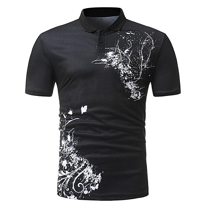 mode Pour des hommes Buttons Design Half voituredigans manche courte Slim Fit Décontracté T Shirt BK L à prix pas cher