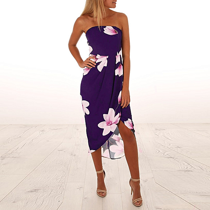 Fashion quanxinhshang femmes Off The Shoulder Boho Dress Lady Beach Summer Sundrss Maxi Dress à prix pas cher
