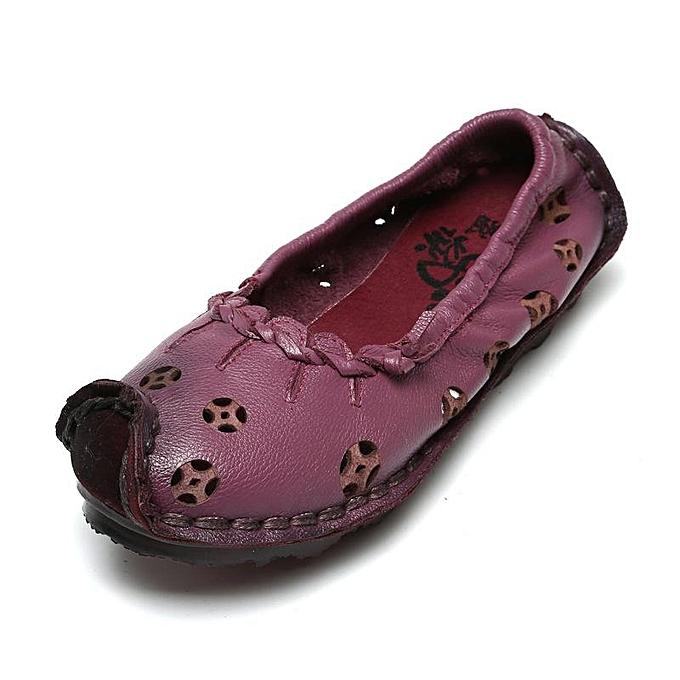 Fashion SOCOFY Fashion WoHommes   WoHommes Leather Hollow Out Pure Color Vintage Egg Roll Flat Casual Shoes à prix pas cher    Jumia Maroc 03de25