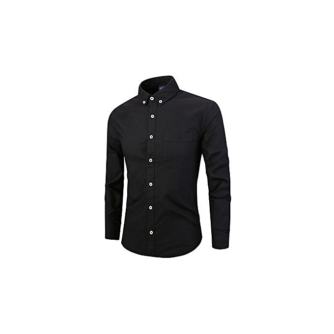Fashion Men's Autumn New Men's Long Sleeve Lapel Solid Couleur Shirt Cotton Casual Fashion Men's Shirt-noir à prix pas cher