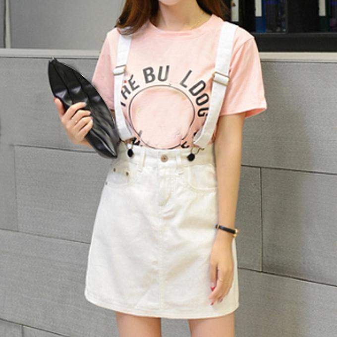 Fashion Wohommes Casual Bib Denim Skirt Sling Button Mini Skirt Sheath Skirt à prix pas cher