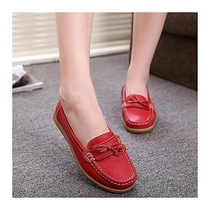 Fashion Fashion WoHommes WoHommes WoHommes  Bowknot Slip On Leather Soft Flat Casual Lazy Loafers à prix pas cher  | Jumia Maroc 17113d