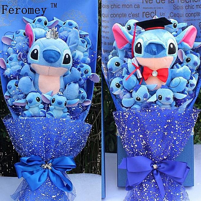 Autre Drop Shipping Stitch voituretoon FFaibleer Bouquet Plush Toy Kawaii Stitch Graduation Bouquets Plush Toy Valentine Birtdhay Gift No Box(bleu) à prix pas cher