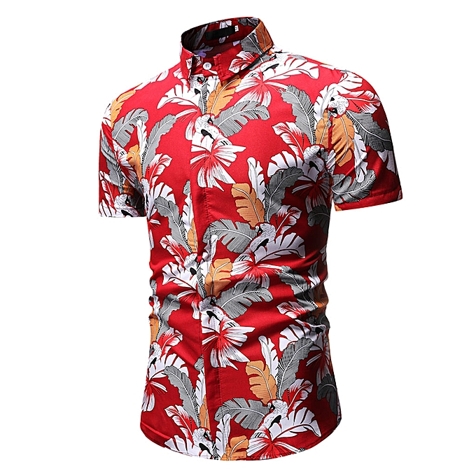 mode Personality Hommes& 039;s été Décontracté Slim manche courte Printed Shirts Top chemisier à prix pas cher