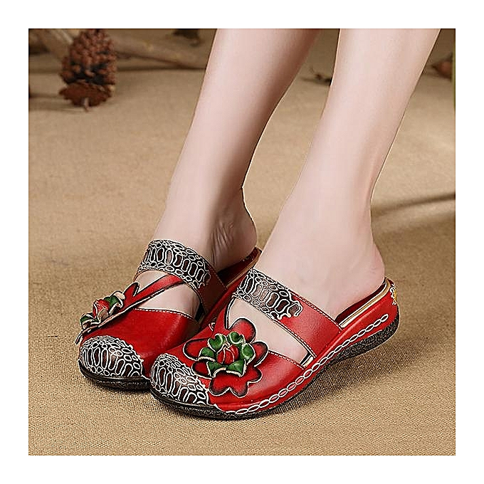 Fashion SOCOFY WoHommes   Sandals-EU Handmade Slippers Floral Shoe Platform Retro Sandals-EU  à prix pas cher  | Jumia Maroc e6e14e
