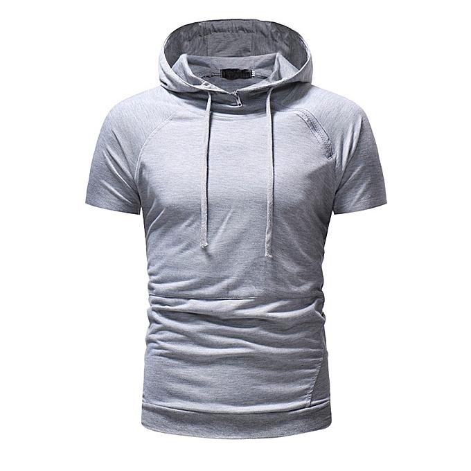 mode Hommes& 039;s Printed manche courte encapuchonné Sweatshirt hauts chemisier  GY L à prix pas cher
