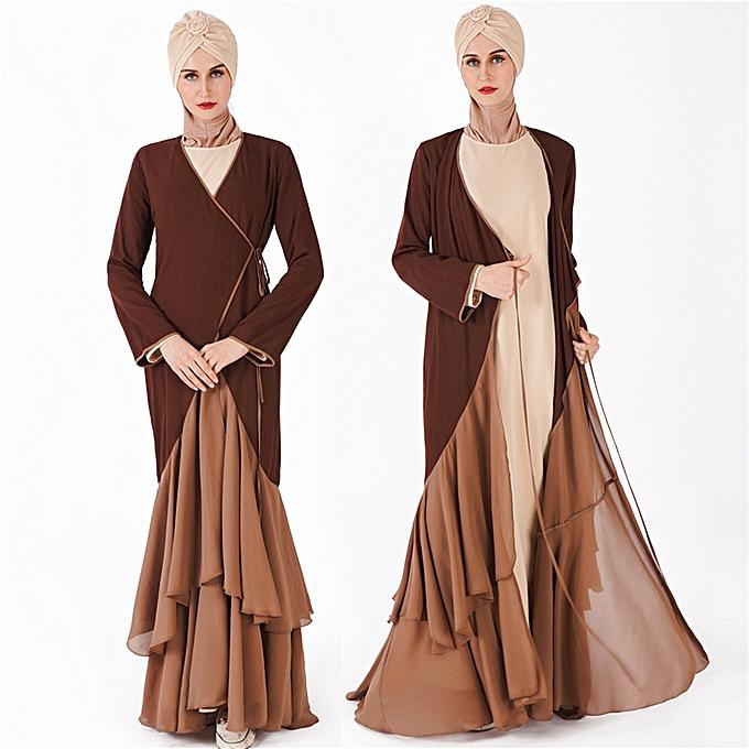 mode Hiamok femmes Modest Maxi Robe Abaya Turkey Patchwork Long Robe Kaftan Clothes à prix pas cher