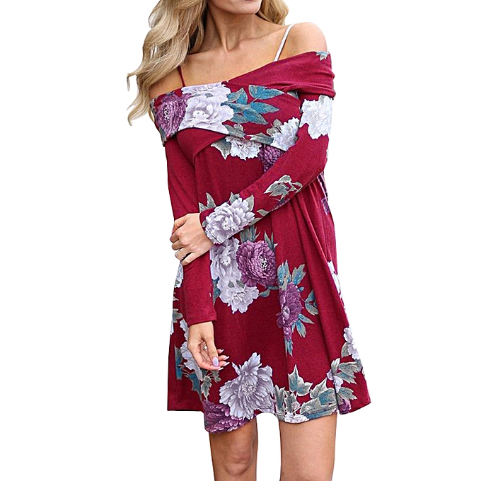 mode jiahsyc store femmes Spbague Floral Décontracté Slash Neck Loose manche longue Mini Robe-rouge à prix pas cher