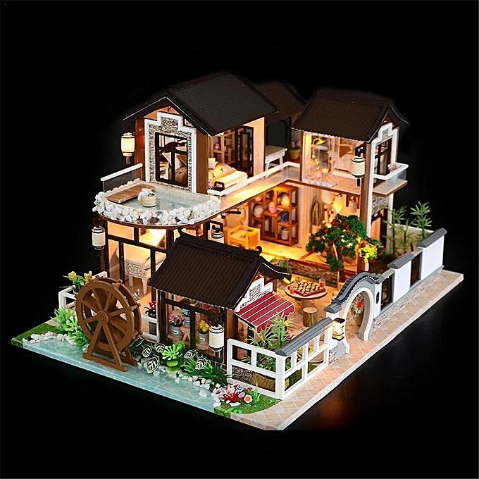 OEM DIY Dollhouse Miniature Furniture Kit LED Kids Cat Birthday Xmas Gift House à prix pas cher