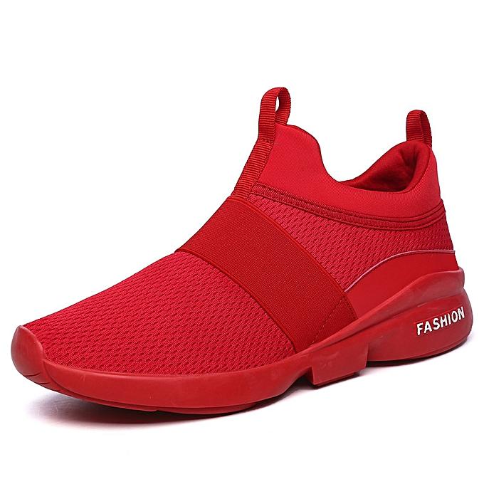 Fashion Wohommes Mens baskets Tennis chaussures - Lightweight Mesh Slip on Running Walking Workout chaussures rouge à prix pas cher