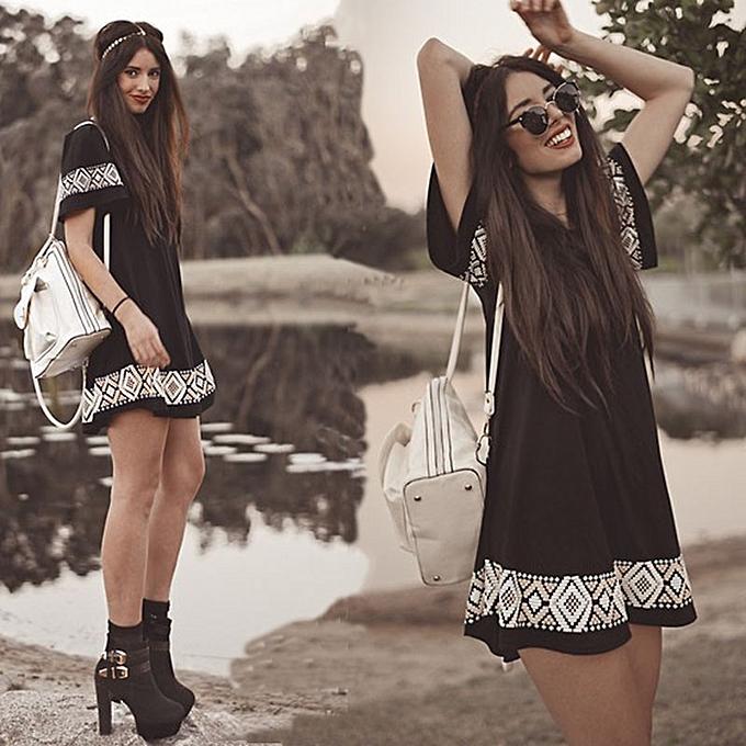 OEM New style Short Sleeve Print Dress Swing Dress-noir à prix pas cher