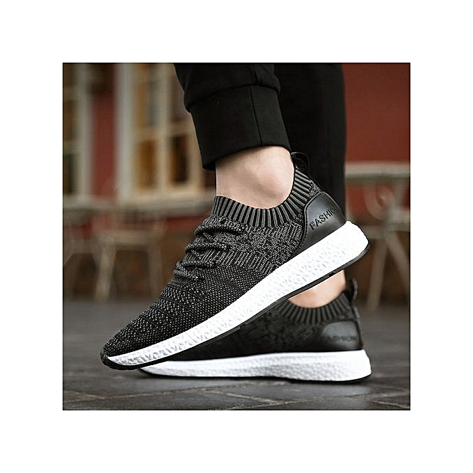 Fashion Jiahsyc Store Men's Spring Casual chaussures Breathable Lace-Up Flats Light Fashion chaussures-noir à prix pas cher
