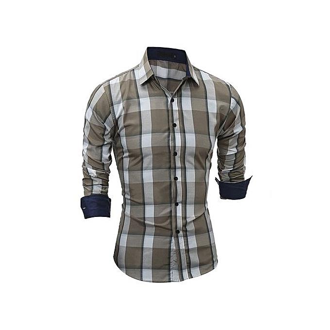 mode Hommes Flannel Plaid Shirt 100% Cotton 2018 Spbague Autumn Décontracté manche longue Shirt Soft Comfort Slim Fit Man Clothe-coffee à prix pas cher
