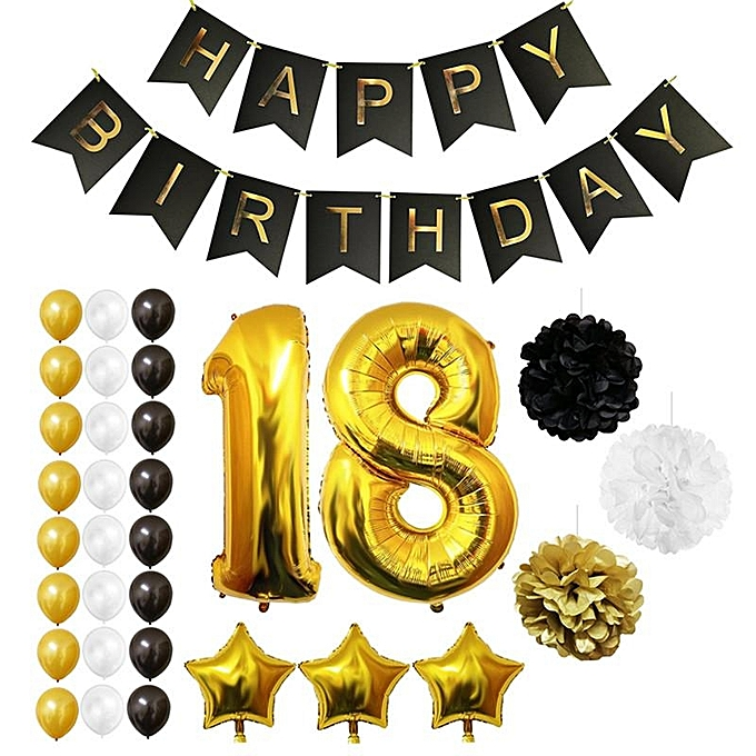 UNIVERSAL 40'' Giant 18th Happy Birthday Party Foil Balloons Helium Air Supplies Decor à prix pas cher