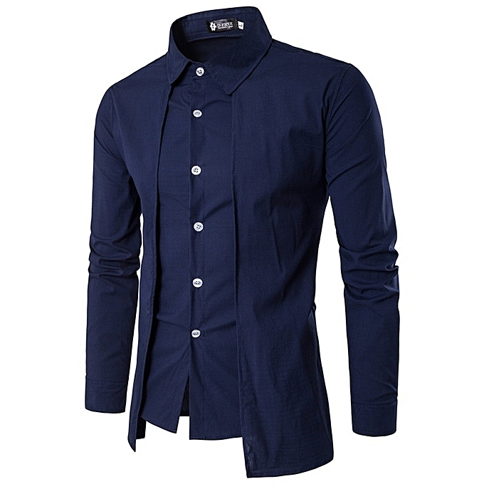 Other Stylish Personality Fake Two Men's Long Sleeve Shirt à prix pas cher