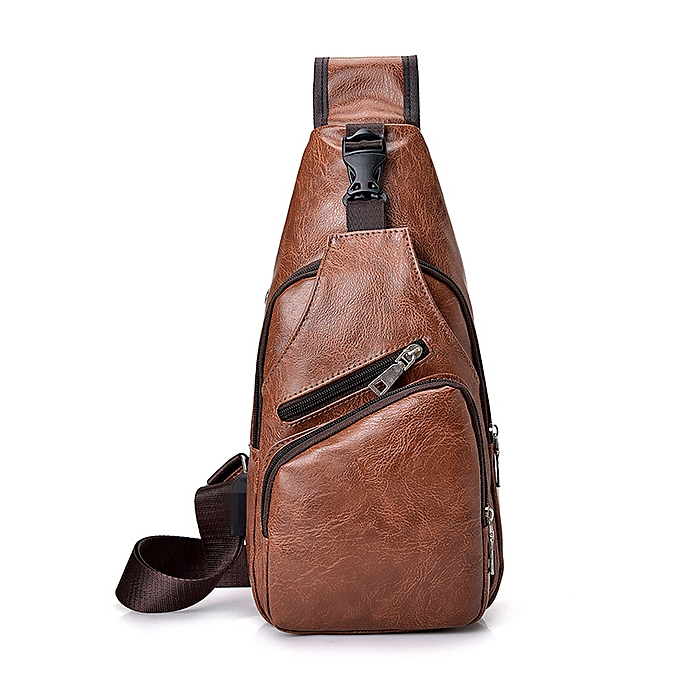 Other Hommes PU cuir Sling Chest Pack bandoulière Sport Shoulder sac + USB Charging Port Shoulder Ba(Dark marron) à prix pas cher