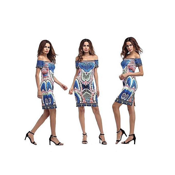 AFankara Ankara Short Gowns,Off Shoulder Short Ladies Dress-Multi à prix pas cher