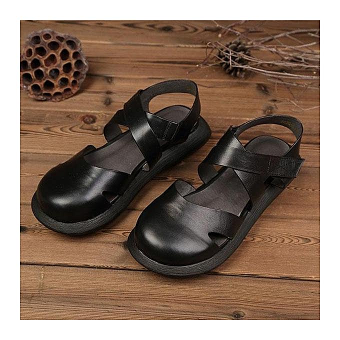 Fashion SOCOFY Hollow Out Pure Couleur Handmade Leather Retro Fashion femmes Flat Sandals-EU à prix pas cher
