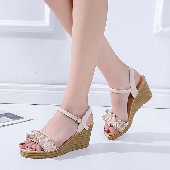 mode (Xiuxingzi) Wohommes mode Sandals Wild Wedge Sandals High Heel Sandals Lace Sandals à prix pas cher