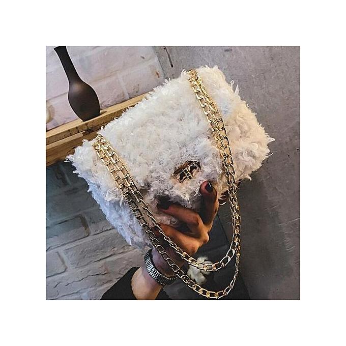 Siketu femmes mode Sweet Plush Lady sac Handsac bandoulière Shoulder sacs WH-blanc à prix pas cher