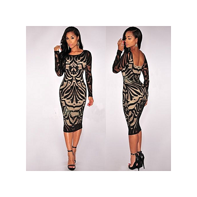 mode femmes Bodycon manche longue Pencil Office Robe Sheath Ladies OL Work Party Robees Vestidos-noir à prix pas cher