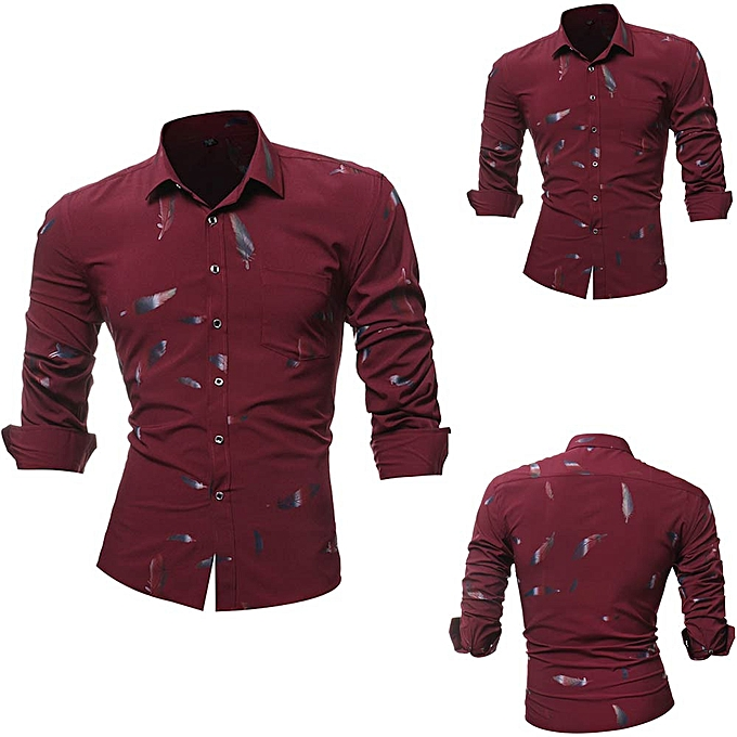 Fashion Personality Men's Printed Casual Slim Long Sleeve Printed Shirt Top Blouse -rouge à prix pas cher